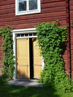 "Erik-Anders Hälsingegård, Asta (Unesco: ""Decorated Farmhouses of Hälsingland"") - light yellow ochre double front door - red timber walls - white wooden frames - green hop."