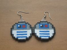 R2D2 Star Wars earrings hama mini beads by AnneBandCo