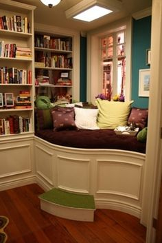 home library with seating area... - Click image to find more home decor Pinterest pins
