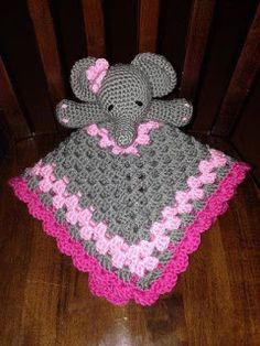 Elephant Lovey Blankie Security Blanket by CountryGirlCrochets Crochet Security Blanket, Crochet Lovey, Lovey Blanket, Baby Blanket Crochet, Crochet Crafts, Crochet Toys, Crochet Projects, Knit Crochet, Baby Patterns