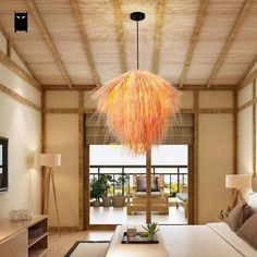 Hand-Woven Bamboo Wicker Rattan Straw Pendant Light Fixture Chandelier Lamp #Soleilchat #Asian