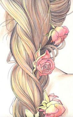 dibujos de mujer con largo cabello - Buscar con Google