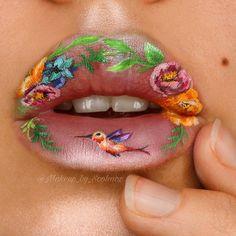 # Spring Bloom using Eye Makeup Art, Eye Art, Lip Makeup, Sexy Makeup, Pretty Makeup, Orange Lips, Mime Face Paint, Lipstick Art, Lipstick Stains