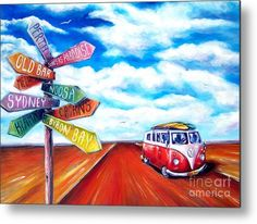 Kombi Metal Print featuring the painting Road Trip by Deb Broughton