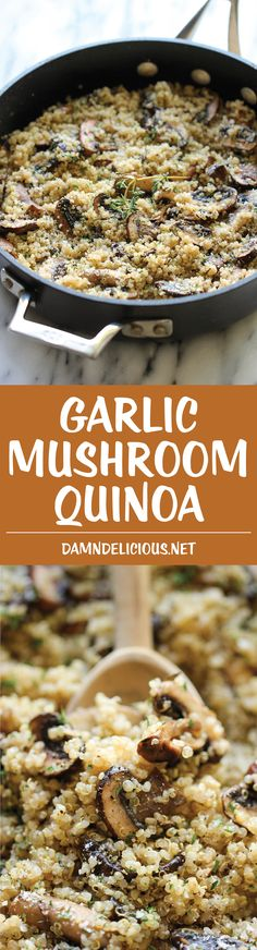 Mushroom Quinoa Garlic Mushroom Quinoa - An easy, healthy side dish that you'll want to make with every single meal!Garlic Mushroom Quinoa - An easy, healthy side dish that you'll want to make with every single meal! Veggie Recipes, Whole Food Recipes, Vegetarian Recipes, Cooking Recipes, Quinoa Dinner Recipes, Healthy Recipes With Quinoa, Healthy Mushroom Recipes, Fast Healthy Meals, Healthy Filling Snacks