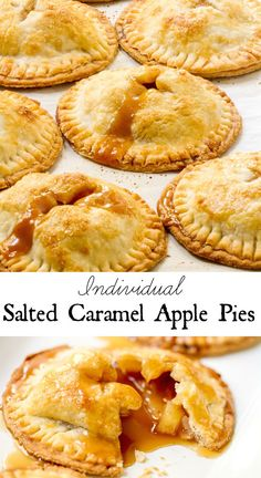 Apple Pies Salted Caramel Apple Pies - cute little individual pies would be fun for Thanksgiving or Christmas holidays!Salted Caramel Apple Pies - cute little individual pies would be fun for Thanksgiving or Christmas holidays! Apple Desserts, Köstliche Desserts, Apple Recipes, Dessert Recipes, Mini Pie Recipes, Plated Desserts, Salted Caramel Apple Pie, Caramel Apples, Salted Caramels