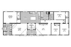 floor plan for 4 bedroom 3 bathroom mobile home | CLAYTON 4 Bedroom 2 Bath Home 41SSS28764C Cottage Floor Plans, House Floor Plans, Mobile Home Floor Plans, Floor Plan 4 Bedroom, My Dream Home, Dream Homes, Clayton Homes, Pole Barn Homes, House Blueprints