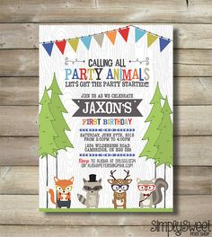 Hipster Woodland Animal Birthday Party by SimplySweetPrintShop