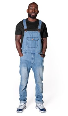 USKEES Jesse Skinny Fit Mens Dungarees - Pale Wash Denim.  #dungarees #overalls