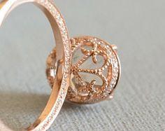 filigree stone setting, ring, rose gold,
