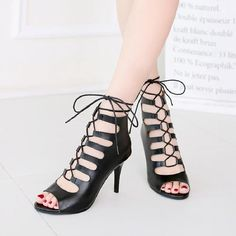 Black Fish Mouth Formal Party Shoes [VIVIDRESS10248] - R990 : vividress.co.za Lace Up Gladiator Sandals, Strappy High Heels, Open Toe High Heels, Stilettos, Pumps, Shoe Boots, Shoes Heels, Dress Shoes, Ankle Strap Wedges