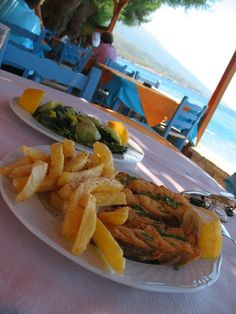 Fried fish and Horta,a warm salad of seasonal vegetables...With lemon ...