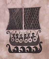 $37.50 Viking Ship Batik