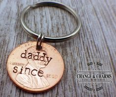 Daddy Since Penny Keychain Fathers Day Present by ChangeandCharms.... >> Have a look at more at the photo link