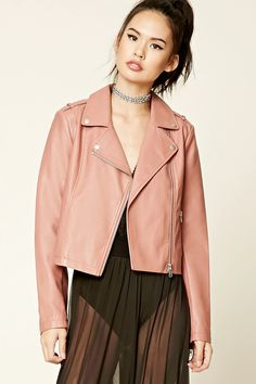 A lightweight faux leather moto jacket featuring an asymmetrical zipper front, a notched collar, long sleeves, two front zipper pockets, and shoulder epaulettes.