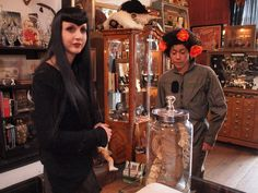 Wednesday Mourning and a customer in Oddities: San Francisco on Haight