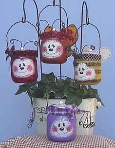 """Butterfly, bee, ladybug, spider, and tealight candles turn baby food jars into garden glow bugs. """"Sponge painting"""" makes them fun & easy!"""