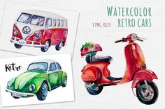 Watercolor set of retro cars By Peace_Shop