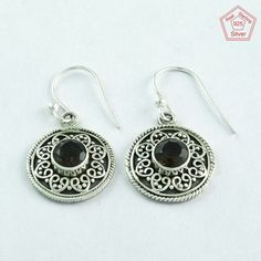 TRADITIONAL SMOKY QUARTZ STONE 925 SOLID STERLING SILVER EARRINGS E5257 #SilvexImagesIndiaPvtLtd #DropDangle