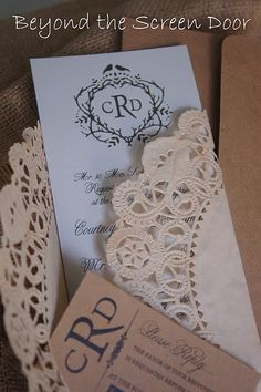 Love the idea of wrapping an invite in a doile