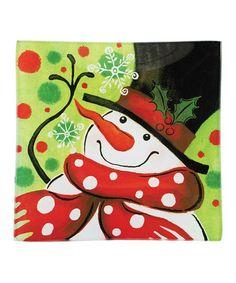 snowman square plate