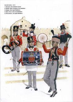 The King's German Legion  - 1812-1816 Musicians, 1815 1-Serpent, line battalion band 2-Bugler light company 3-Bugler, 2nd Light Battalion 4-Bass drum; 2nd Line Battalion 5-Percussion, 1st Light Battalion