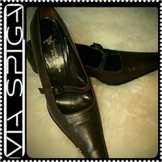 Studio Spiga Italy Leather Pumps Studio Spiga Designer Shoes in Trendy Ladies Pointy Pumps! Gorgeous in Brown Shade in About 2.5 inches heels! Made in Italy  with Mary Jane Style Buckle Detail! Used in Mint Condition! Studio Spiga Shoes