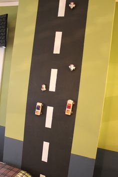 "Dink would love this!!!!   Boys Room Idea:  magnetic paint ""road"", trucks have magnets on the bottom"