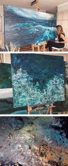 Ocean paintings by Vanessa Mae // Contemporary painting // Wave paintings