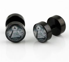 Anodized Fake Plug with Dollar Pyramid Design Size: 16g (0g Look) Material:Stainless Steel Color: Anodized Black Price Per Pair