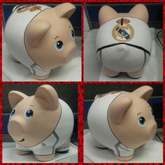 Real madrid puerquito alcancia Real Madrid, Piggy Bank, Diy Crafts, Pigs, Ceramics, Sweet, Color, Tin Cans, Music Artists
