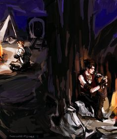 Dragon Age: Origins - Alistair and Morrigan on night watch, by thereinafter