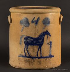 Antique Stoneware Crock with Brushed Cobalt Horse at Hitching Post, Four Gallons, Century, entire view Antique Crocks, Old Crocks, Antique Stoneware, Stoneware Crocks, Antique Pottery, Blue Pottery, Primitive Antiques, Stoneware Clay, Pottery Art