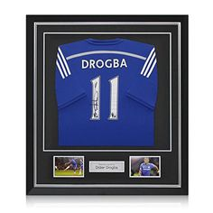 info for e2d5d c8641 Deluxe Framed Didier Drogba Signed Chelsea 2014-15 Premiership Soccer  Jersey With Silver Inlay for