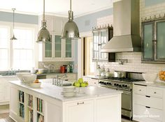 White Kitchen Cabinet Color by Benjamin Moore, Swiss Coffee Walls Yarmouth Blue White Marble Kitchen, White Kitchen Backsplash, White Kitchen Island, White Kitchen Cabinets, Painting Kitchen Cabinets, Kitchen Flooring, Upper Cabinets, Green Kitchen, Kitchen And Bath