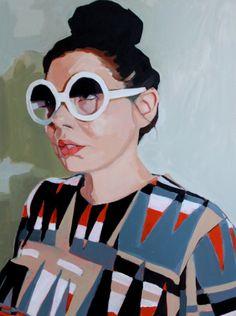 Artist: Erin Fitzpatrick {contemporary female head sunglasses woman face portrait retro fashion painting}