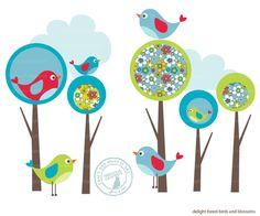 Modern Forest and Bird Clip Art by TracyAnnDigitalArt on Etsy