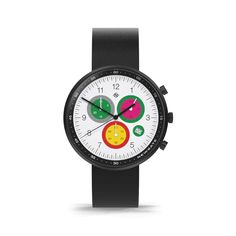 A modern British-designed men's chronograph watch inspired by the vibrancy of Tokyo. A brushed black case holds contemporary multicolour subdials. Latest Watches, Watches For Men, Black Watches, Leather Watches, Men's Watches, Black Italians, Red Green Yellow, Stainless Steel Case, Italian Leather