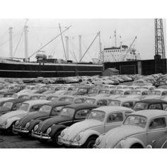 Volkswagen vans in parking lot with nautical vessel in background Canvas Art - (24 x 36)