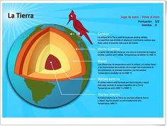 """""""La Tierra"""" es un sencillo juego online, de juegos-geograficos.es, en el que se han de localizar en el gráfico las capas de la Tierra, a la misma vez que se informa sobre las características de cada una de ellas."""