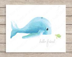 Hello Friend Whale and Turtle Art Print, Hello Friend Art, Ocean Nursery Decor, Whale Art, Sea Turtle Art Print, Ocean Nursery Art Print