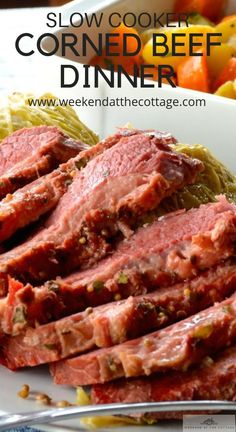 Slow Cooker Corned Beef Dinner – Weekend at the Cottage This tender, juicy slow cooker corned beef recipe is perfect for a busy weeknight. Set up your slow cooker in the morning and dinner is served. Make a Reuben sandwich with your leftovers! Slow Cooker Corned Beef, Corned Beef Recipes, Meat Recipes, Slow Cooker Recipes, Crockpot Recipes, Cooking Recipes, Corned Silverside Slow Cooker, Cooking Corned Beef Brisket, Reuben Sandwich