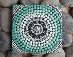 Dot Painting, Aqua Aboriginal dot design, by Biripi Artist Raechel Saunders, beach themed, Authentic Australian Gift, aqua gifts, aqua decor