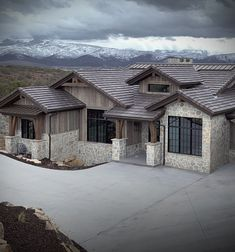 Mountain Modern Home Exterior Stone Veneer Lime Stone Fieldstone Wall Rustic Houses Exterior, Modern Farmhouse Exterior, Exterior House Colors, Exterior Design, Mountain Home Exterior, Modern Mountain Home, Mountain Home Plans, Mountain Homes, Modern Architecture House