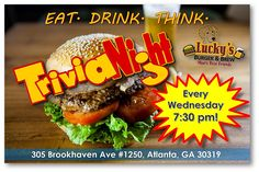 Stop by Lucky's Brookhaven for a delicious #burger and an Ice Cold Brew while you play #Trivia TONIGHT at 7:30!