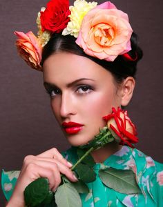 ❀ Flower Maiden Fantasy ❀ beautiful photography of women and flowers - Frida Kahlo inspired look
