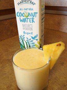 Post-workout Piña Colada: Coconut Water, Fresh Pineapple, nonfat Greek Yogurt and Banana. Deliciously nutritious!