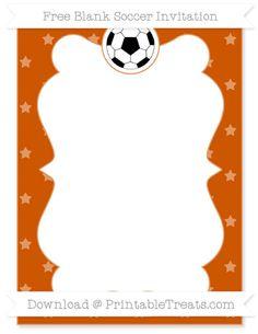 Free Burnt Orange Star Pattern Blank Soccer Invitation