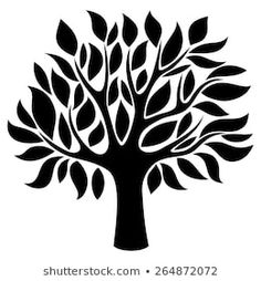 Similar Images, Stock Photos & Vectors of Graphic stylized tree icon with curly branches. Nature Symbols, Silhouette Pictures, Tree Stencil, Scroll Saw Patterns Free, Tree Icon, Simple Tree, Desenho Tattoo, Tree Illustration, Dot Painting