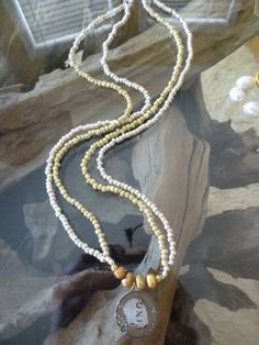 Silver and Gold Beaded Pendant Necklace by ElliTs on Etsy